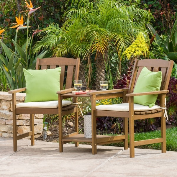 Belize Outdoor Adjoining Wood Chairs With Cushions By Christopher Knight  Home Part 29