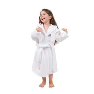 Sweet Kids Turkish Cotton Terry White with Lavender Monogram Hooded Bathrobe|https://ak1.ostkcdn.com/images/products/11417107/P18380415.jpg?impolicy=medium