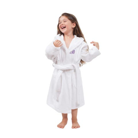 Sweet Kids Turkish Cotton Terry White with Lavender Monogram Hooded Bathrobe