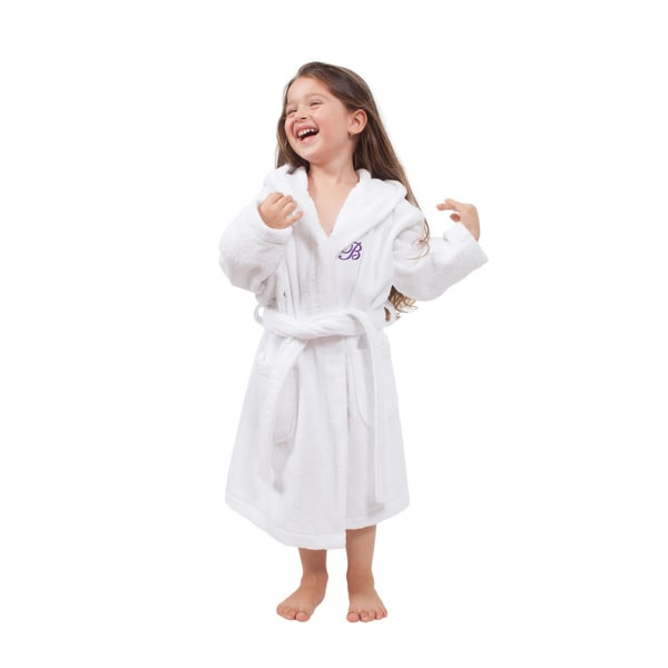Sweet Kids Turkish Cotton Terry White with Lavender Monogram Hooded Bathrobe. Opens flyout.