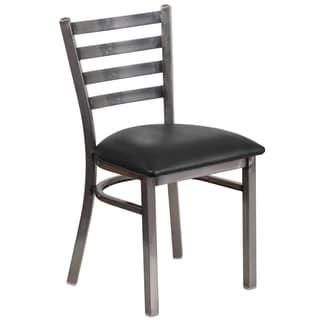 Hercules Series Clear Coated Ladder Back Metal Restaurant Chair - Vinyl Seat