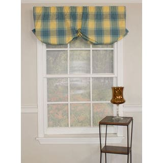 Plaid Crossing Blue Balloon Valance