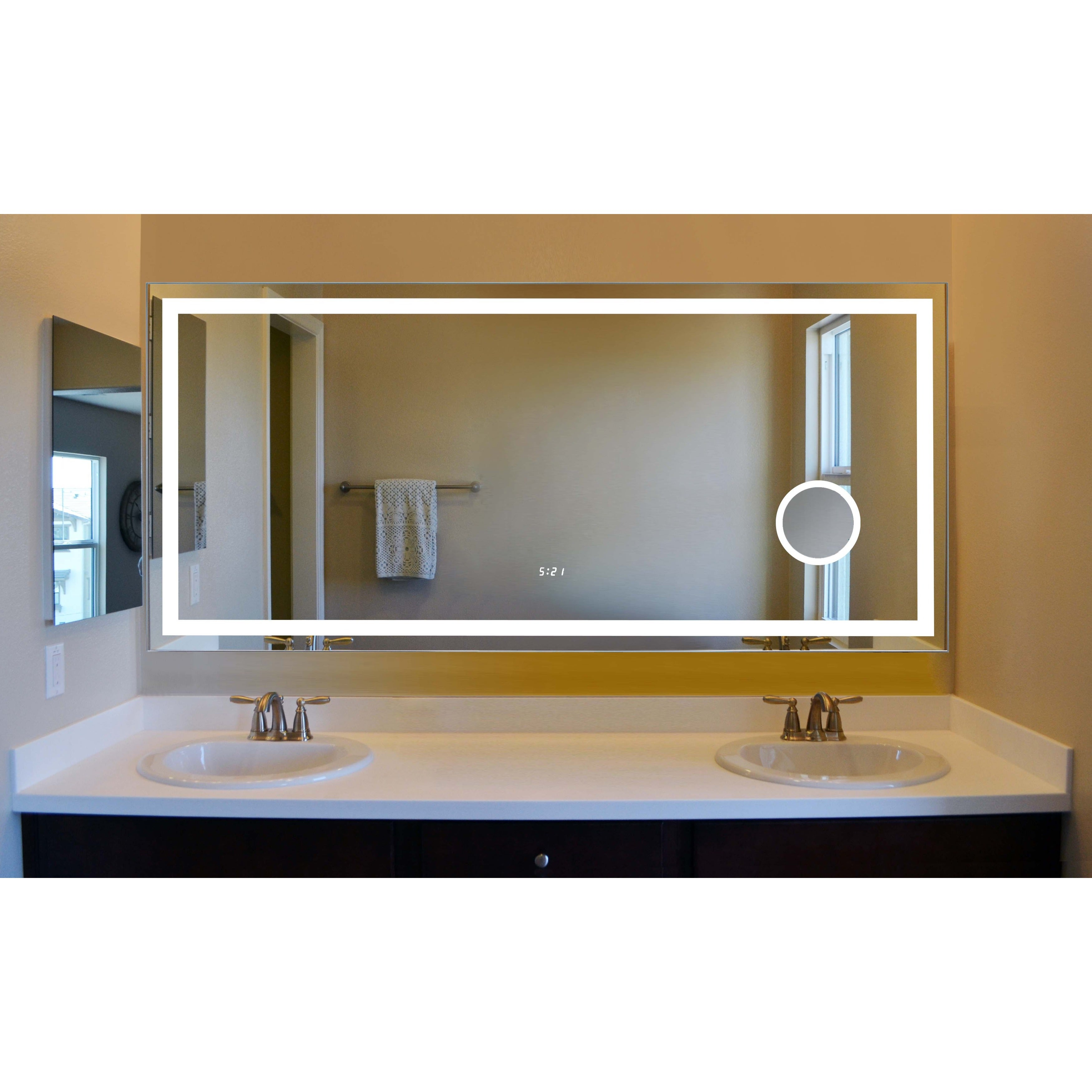 Innoci Usa Eros Led Wall Mount Lighted Vanity Mirror Featuring Built In Cosmetic Digital Display Clock Ir Sensor