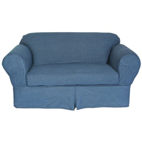Washed Heavy Denim Cotton 2-Piece Loveseat Slipcover