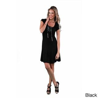 24/7 Comfort Apparel Women's Short Sleeve A-Line Dress