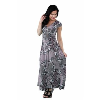 24/7 Comfort Apparel Women's Geometric Paisley Maxi Dress
