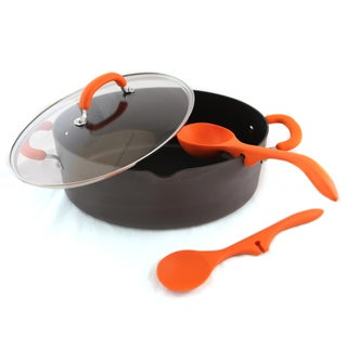 Rachael Ray 4-Pc 8Qt Pasta Pot, Lazy Spoons - Hard Anodized (Orange)