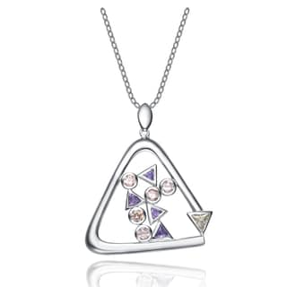 Collette Z Sterling Silver Cubic Zirconia Open Triangle Necklace