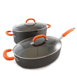 Rachael Ray 4-Pc 8Qt Pasta Pot, 5-Qt Saute Pan - Hard Anodized (Orange)