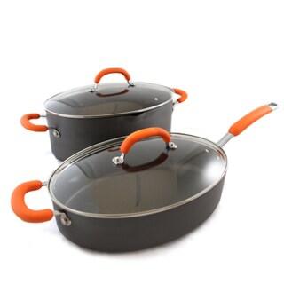 Rachael Ray 4-Pc 8Qt Pasta Pot, 5-Qt Saute Pan - Hard Anodized (Orange)
