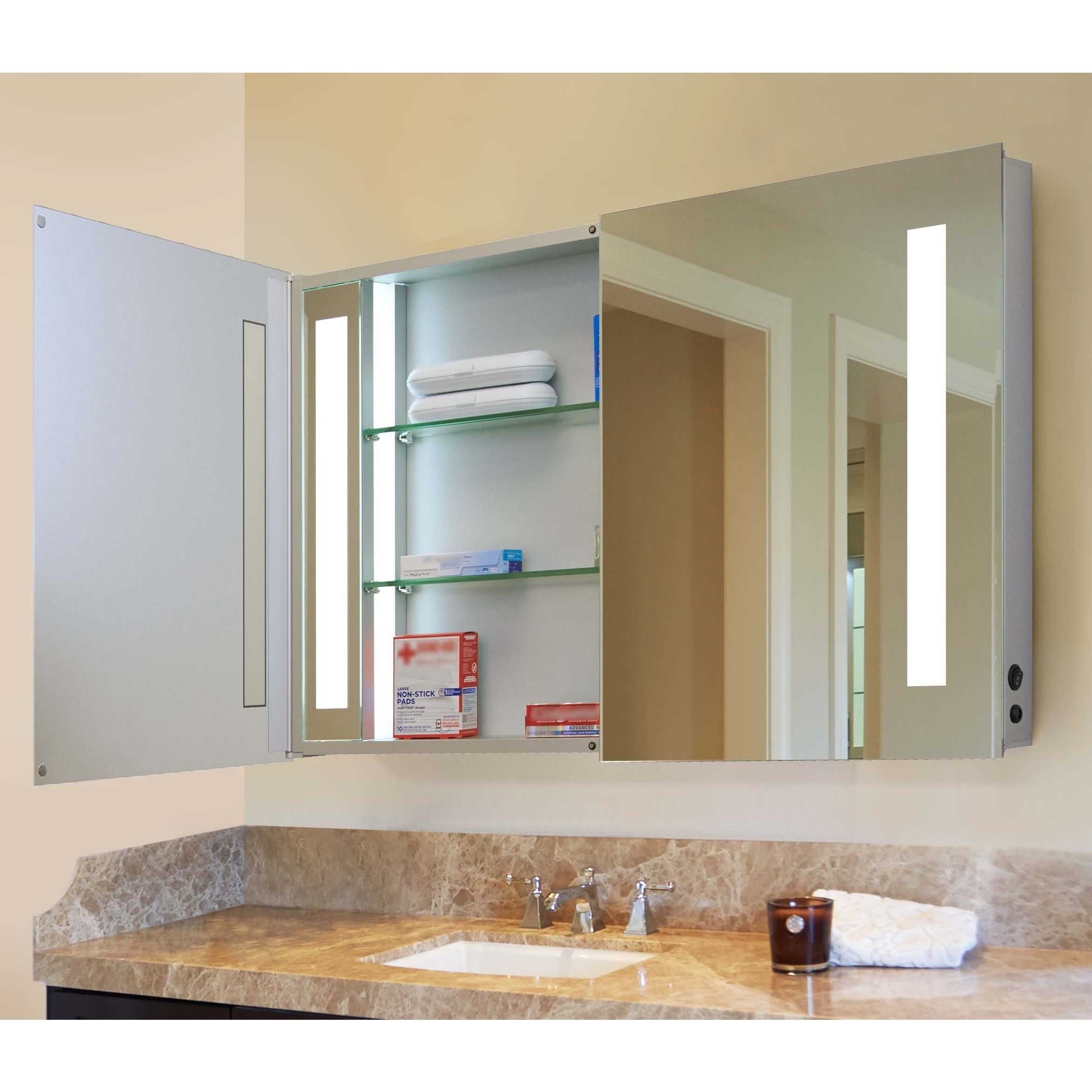 Innoci Usa Zeus Led Double Door Wall Mount Mirrored Lighted Medicine Cabinet Vanity Featuring Ir Sensor Tempered Glass Shelves Overstock 11417167 Lighted Shelves Drawers 48 Inches Wide X 26 Inches High X 4 8 Inches Deep