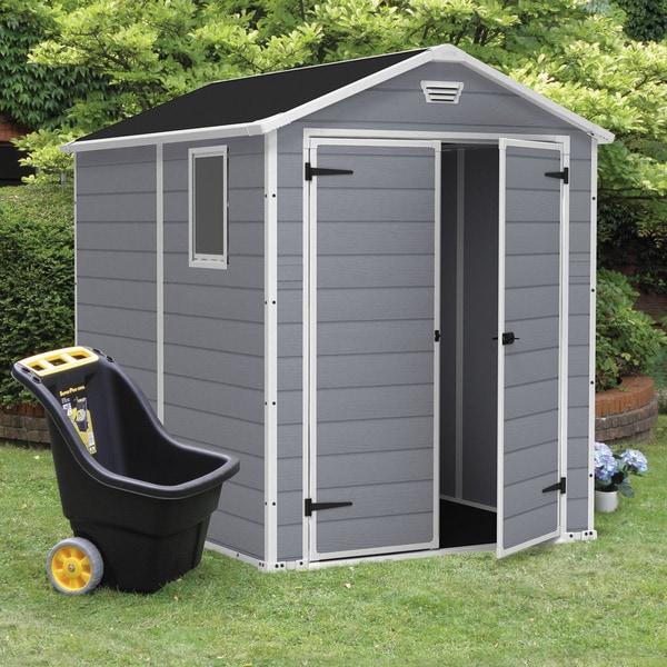 Keter Manor Large 6 X 8 Ft. Grey Resin Outdoor Backyard Garden Storage Shed