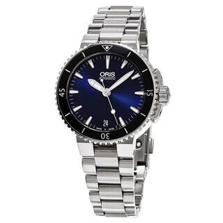 Oris Women's 733 7652 4135 MB 'Aquis Date' Blue Dial Stainless Steel Swiss Automatic Watch