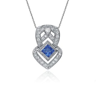 Collette Z Sterling Silver Clear and Blue Cubic Zirconia Lux Necklace