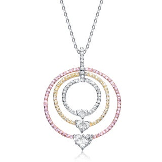 Collette Z Sterling Silver Pink, Yellow and Clear Cubic Zirconia Necklace