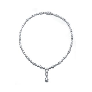 Collette Z Sterling Silver Cubic Zirconia Trio Elegance Necklace