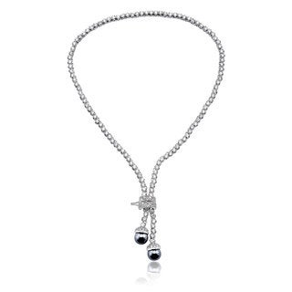 Collette Z Sterling Silver Cubic Zirconia Double Drop Necklace