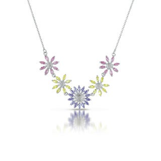 Collette Z Sterling Silver Pastel Cubic Zirconia Floral Power Necklace