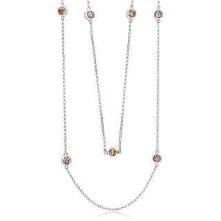 Collette Z Sterling Silver Cubic Zirconia Duo Chain Necklace