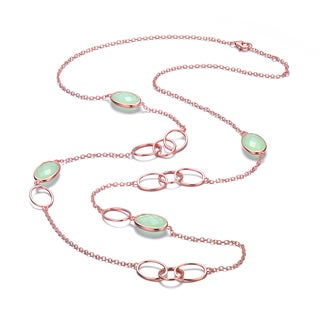 Collette Z Brass Green Cubic Zirconia Linked Necklace