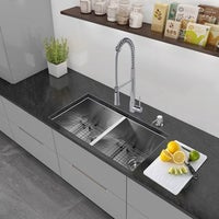 One Bowl Stainless Steel Kitchen Sinks Kraus 33 inch undermount double bowl stainless steel kitchen sink vigo all in one 32 inch stainless steel undermount kitchen sink and laurelton workwithnaturefo