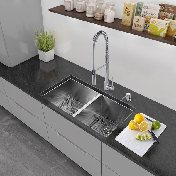 Shop VIGO All-in-One 32-inch Stainless Steel Undermount Kitchen Sink Undermount Kitchen Sink Faucet Placement on single kitchen sink faucet, wall mount kitchen sink faucet, farmhouse kitchen sink faucet,