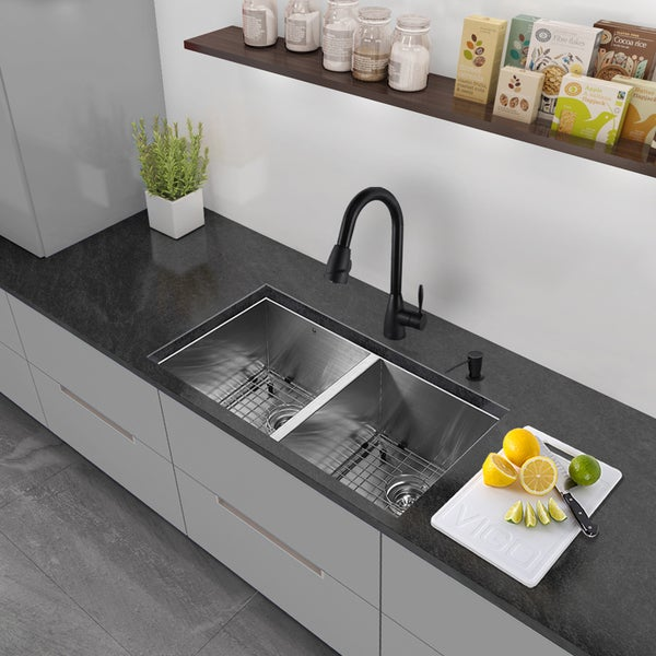 32 Inch Undermount Kitchen Sink : VIGO All-in-One 32-inch Stainless Steel Undermount Kitchen Sink and ...