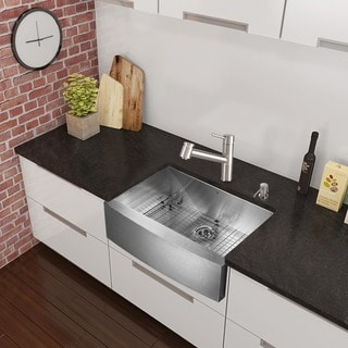 VIGO All-in-One 30-inch Stainless Steel Farmhouse Kitchen Sink and Branson Stainless Steel Faucet Set