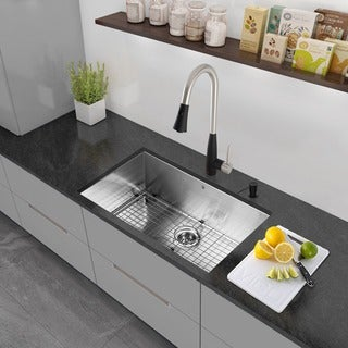 VIGO All-in-One 30-inch Stainless Steel Undermount Kitchen Sink and Milburn Stainless Steel/Matte Black Faucet