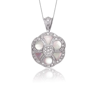 Collette Z Sterling Silver Cubic Zirconia Pink Stone Intricate Necklace