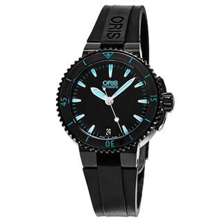 Oris Women's 733 7652 4725 RS 'Aquis Date' Black Dial Black Rubber Strap Swiss Automatic Watch