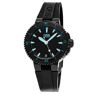 Oris Women's 733 7652 4725 RS 'Aquis Date' Black Dial Black Rubber Strap Swiss Automatic Watch|https://ak1.ostkcdn.com/images/products/11417260/P18380650.jpg?impolicy=medium