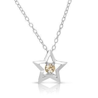 Collette Z Sterling Silver Genuine Citrine Star Necklace
