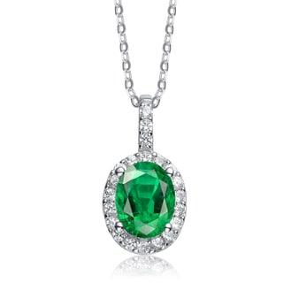 Collette Z Sterling Silver Genuine Green Cubic Zirconia Oval Necklace