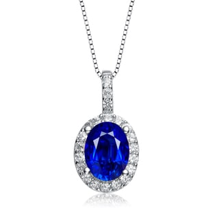 Collette Z Sterling Silver Genuine Sapphire Cubic Zirconia Oval Necklace
