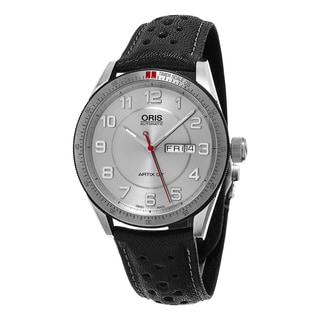 Oris Men's 735 7662 4461 LS 'Artix GT' Silver Dial Black Leather Strap DayDate Swiss Automatic Watch