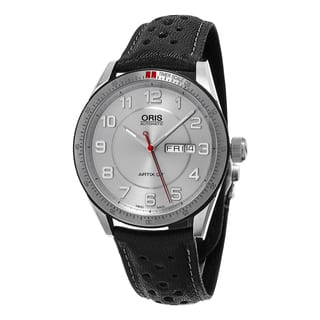 Oris Men's 735 7662 4461 LS 'Artix GT' Silver Dial Black Leather Strap DayDate Swiss Automatic Watch|https://ak1.ostkcdn.com/images/products/11417294/P18380649.jpg?impolicy=medium
