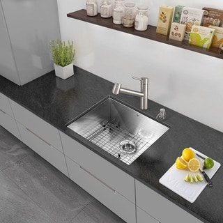 VIGO All-in-One 23-inch Stainless Steel Undermount Kitchen Sink and Branson Stainless Steel Faucet Set