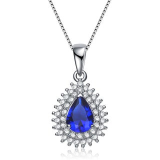 Collette Z Sterling Silver Blue Cubic Zirconia Teardrop Necklace