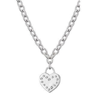 Collette Z Sterling Silver Clear Cubic Zirconia Flat Heart Necklace - White