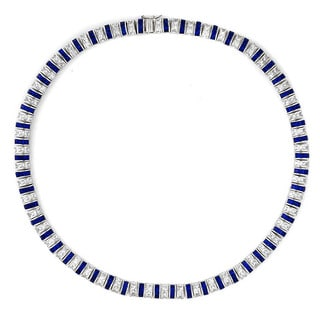 Collette Z Sterling Silver Clear and Blue Cubic Zirconia Stripe Necklace
