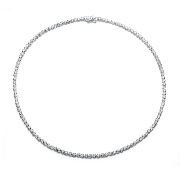 37ddeb2372260 Shop Collette Z Sterling Silver with Rhodium Plated Clear Round ...