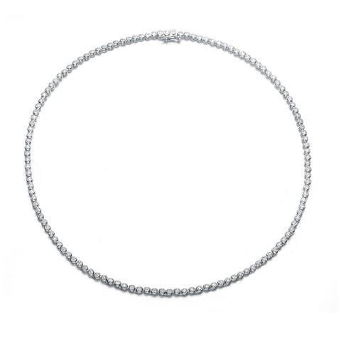 Collette Z Sterling Silver with Rhodium Plated Clear Round Cubic Zirconia 2MM Bezel Tennis Necklace