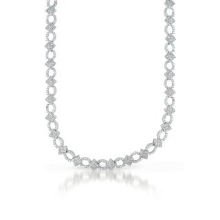 Collette Z Sterling Silver Cubic Zirconia Chain Link Necklace