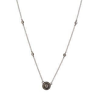 Collette Z Sterling Silver Black Cubic Zirconia Circle Solitaire Necklace
