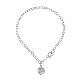 Collette Z Sterling Silver Intricate Heart Toggle Necklace