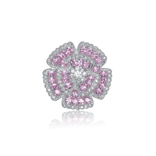 Collette Z Sterling Silver Pink and Clear Cubic Zirconia Pin
