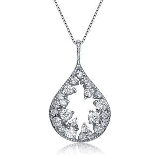 Collette Z Sterling Silver Clear Cubic Zirconia Open Teardrop Necklace