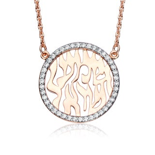 Collette Z Sterling Silver Cubic Zirconia Flaming Round Shema Necklace - White