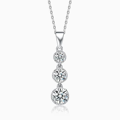 Collette Z Sterling Silver Cubic Zirconia Three Solitaire Necklace - White